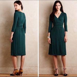 Anthropologie Maeve Green Galena Midi Dress XXS